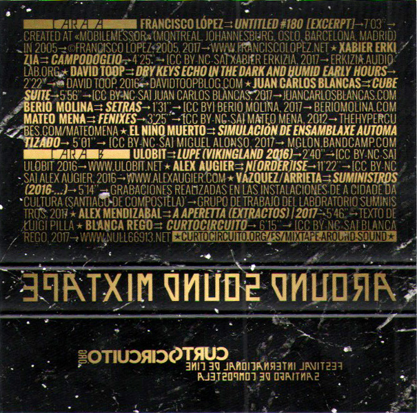Contraportada da mixtape arredor do son.Around sound back cover