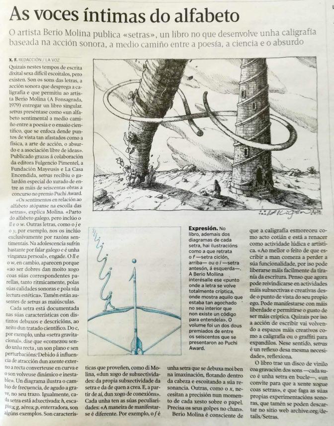 """Entrevista sobre Setras por Xesús Fraga para a Voz de Galicia. Ilustracións de <a href=""""https://liqen.org/"""" target=""""_blank"""">Liqen</a>"""