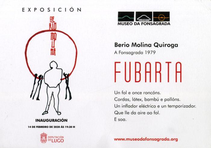 Postal e información da instalación Fubarta no Museo da Fonsagrada